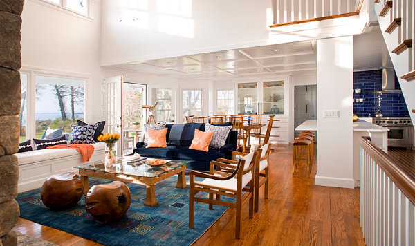 Coastal living room with blue and peach decor