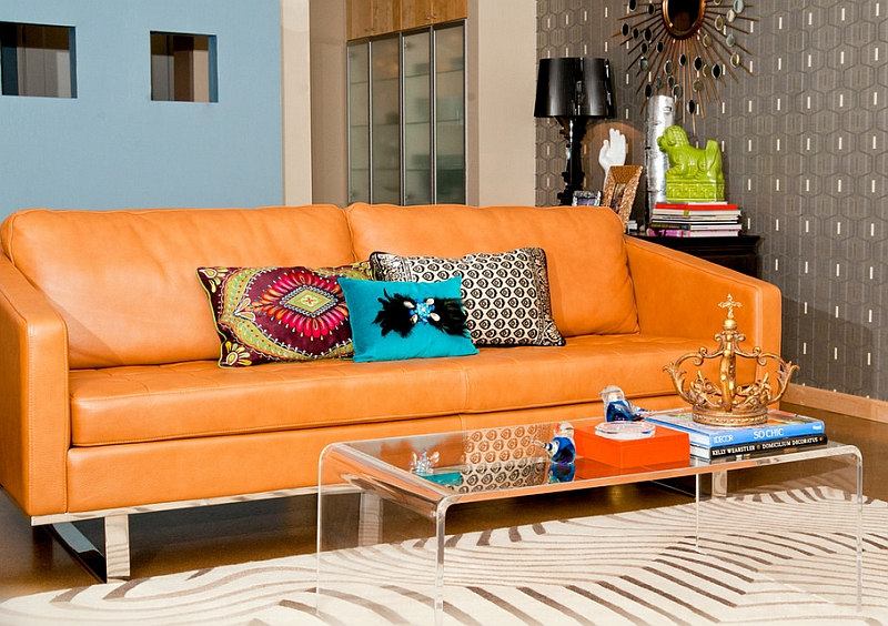 Colorful living room with the Bourgie in black