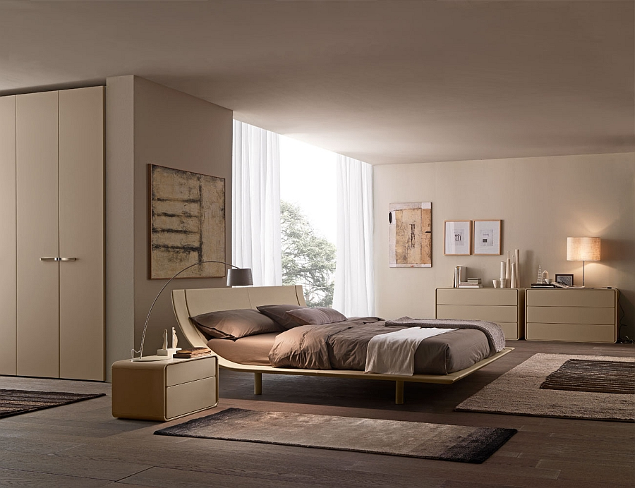 Combine warm wooden tones with modern minimalism in the bedroom