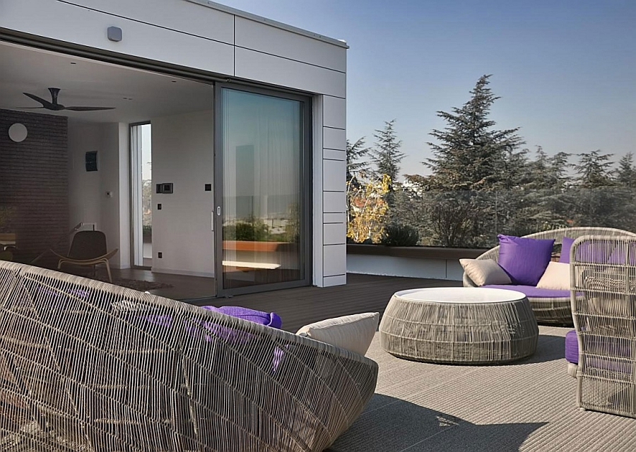 Comfortable outdoor furniture on the terrace