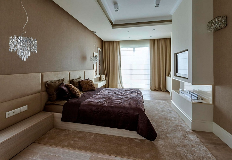 Comfy bedroom in white, cream and brown