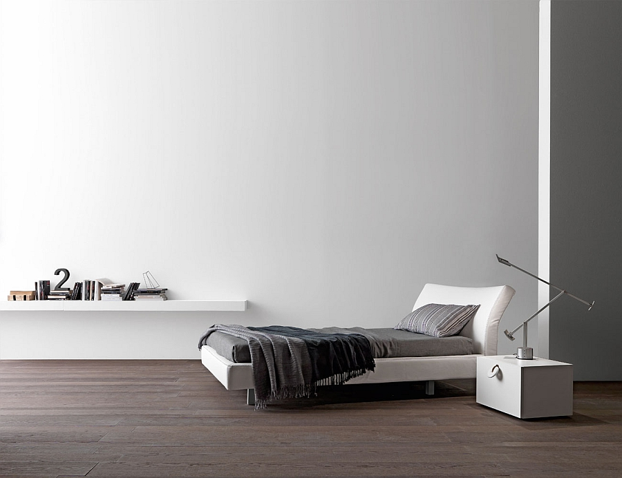 Comfy contemporary bed with aluminum legs