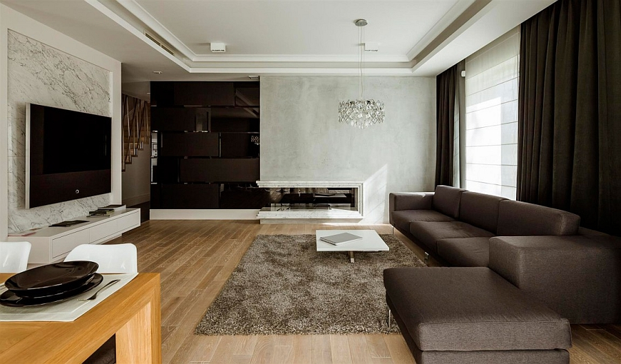 Comfy living room with a balance between light and dark tones