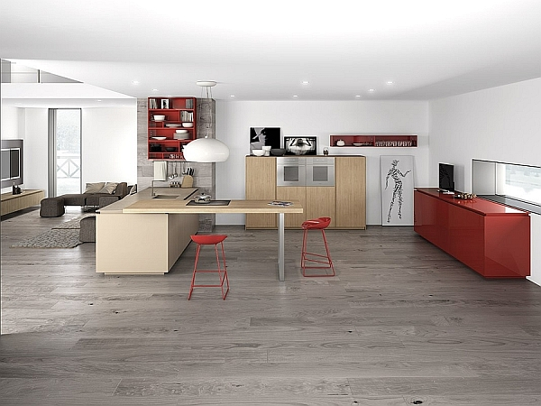 Contemporary Minimalist Kitchen in Grey with Red Accents