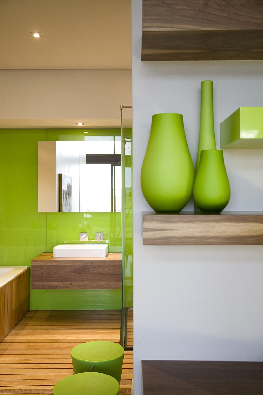Contemporary bathroom in cool green and white