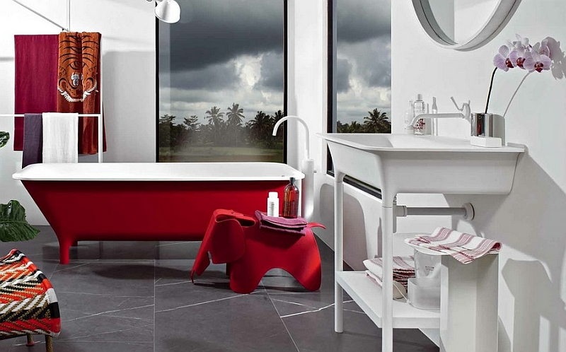 Contemporary bathroom with a ravishing red bathtub