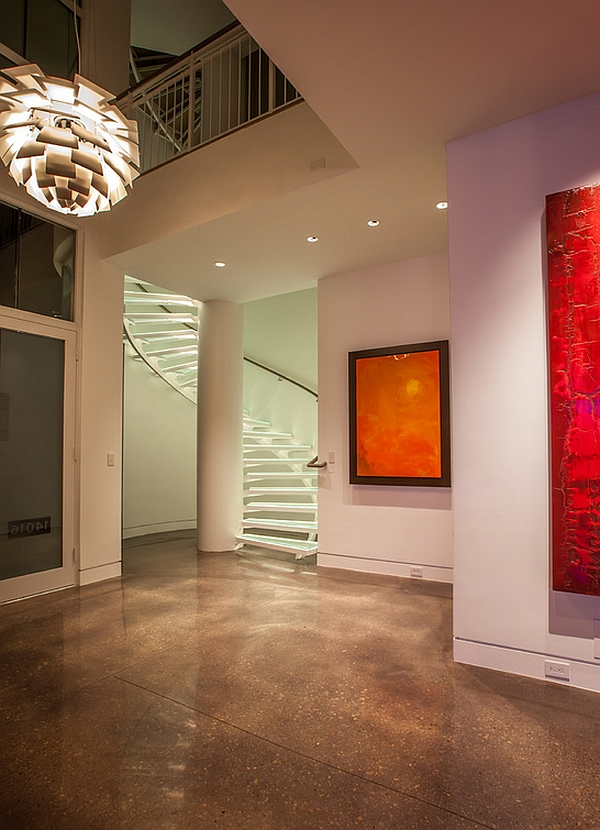 Contemporary entryway with a beautiful spiral stairway