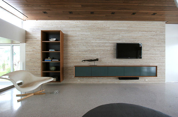 Contemporary wall-mounted media console