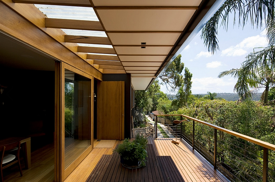 Contemporay wooden deck with lovely views of the distant valley