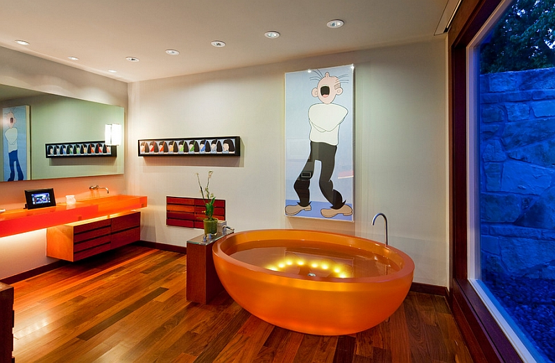Cool contemporary bathroom with a unique bathtub in orange