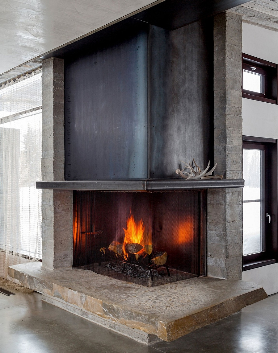 Corner fireplace that saves up on space