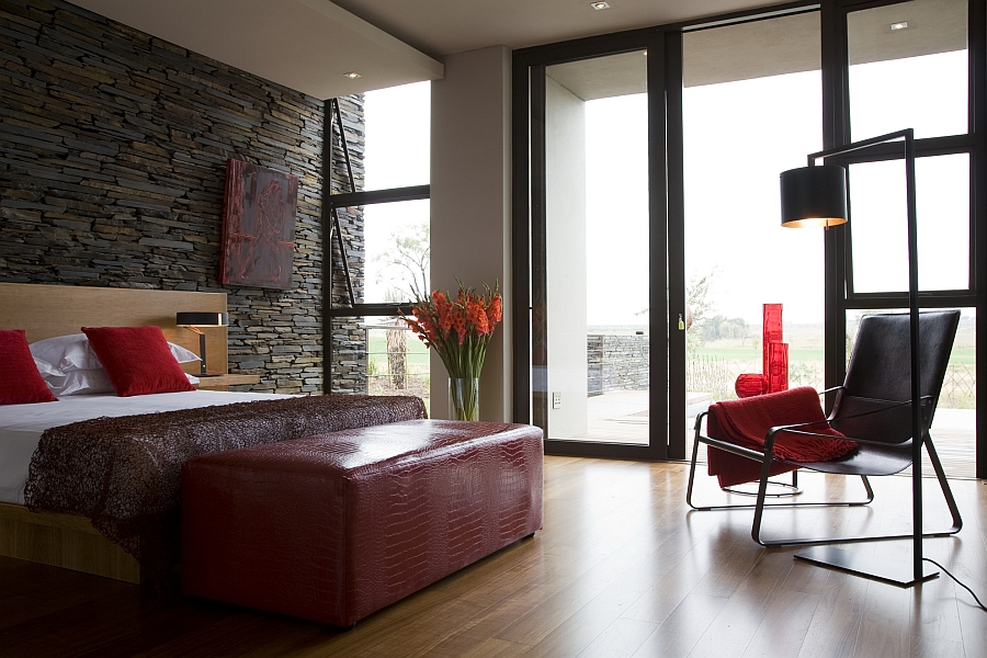 Cozy bedroom with accents of red