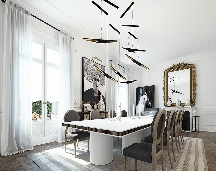 Creative lighting above the glitzy dining table