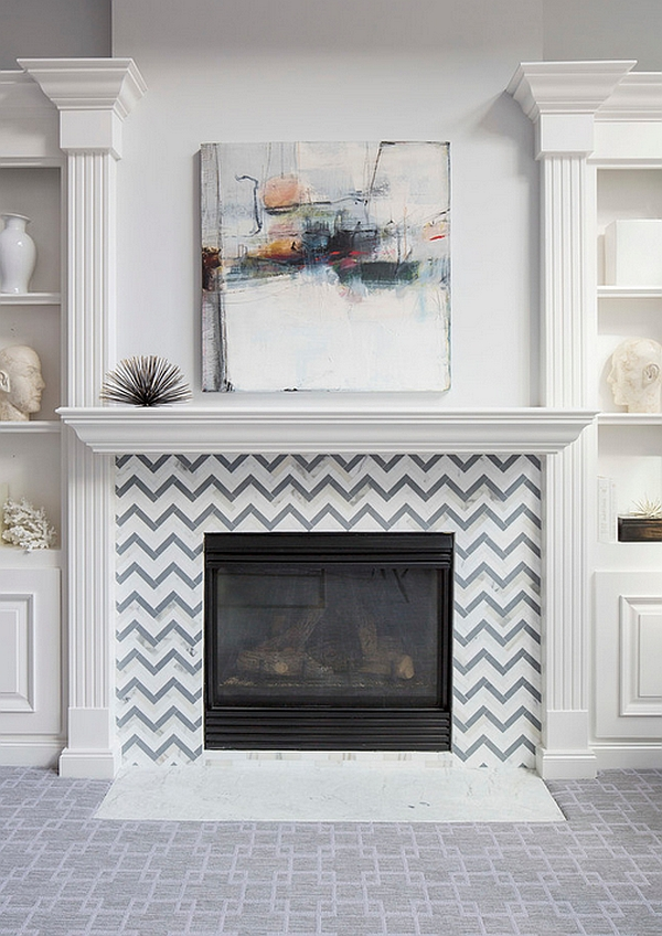 Custom designed tile around the fireplace showcases chevron pattern in a classy fashion
