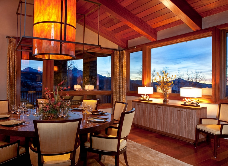 Custom lighting fixture for the contemporary dining room