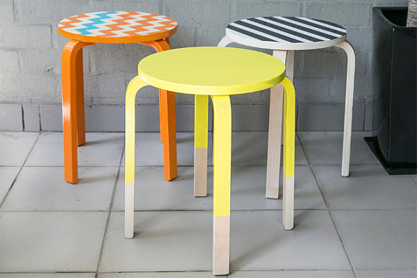 Custom-painted stools