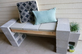 Trendy Front Porch DIY Makeover Featuring a Cinder Block Bench