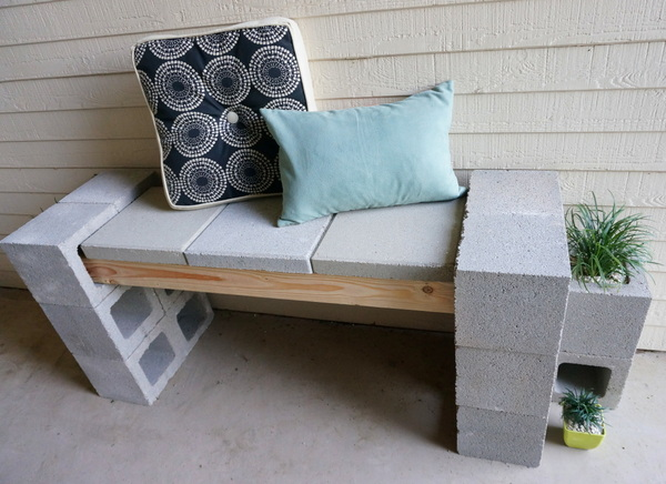 a front porch makeover featuring a cinder block bench. Black Bedroom Furniture Sets. Home Design Ideas