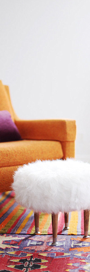 DIY faux fur footstool
