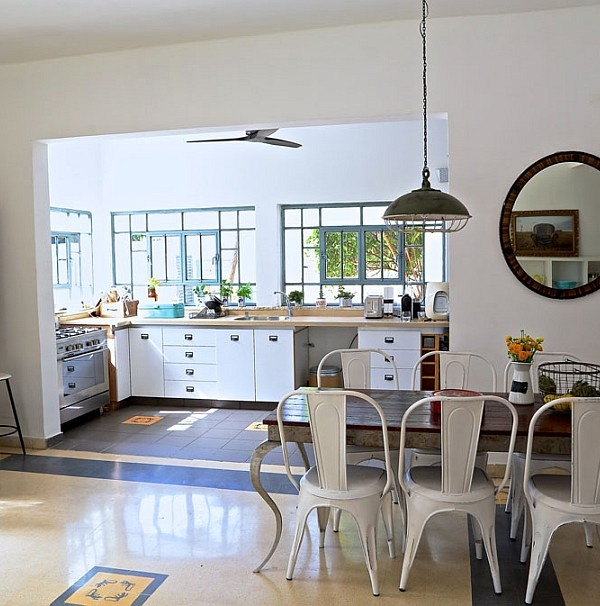 Dining area and kitchen of the renovated home