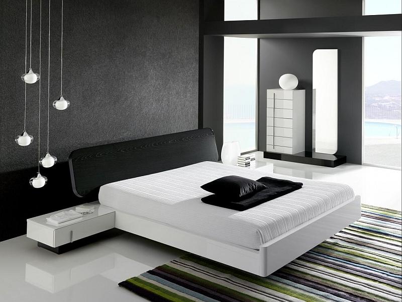Dramatic minimalist bedroom that makes a bold visual impact