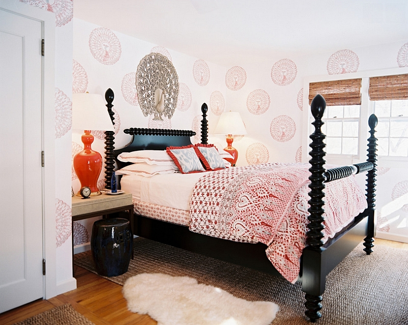 Black And Orange Bedroom bold black and white bedrooms with bright pops of color