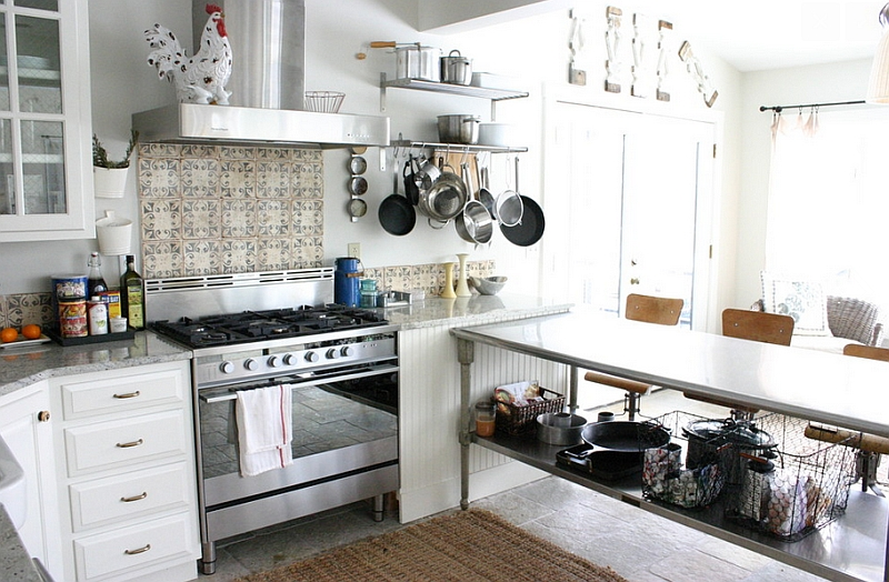 Eclectic kitchen with stainless steel work table