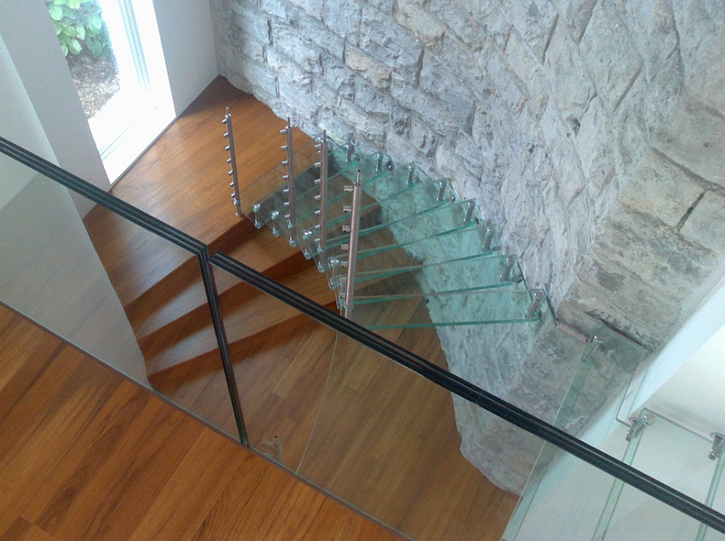 Elegant combination of glass, stone and wood