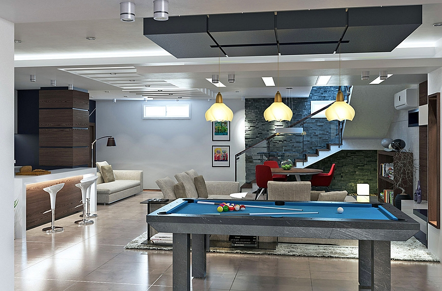Entertainment room with a home bar