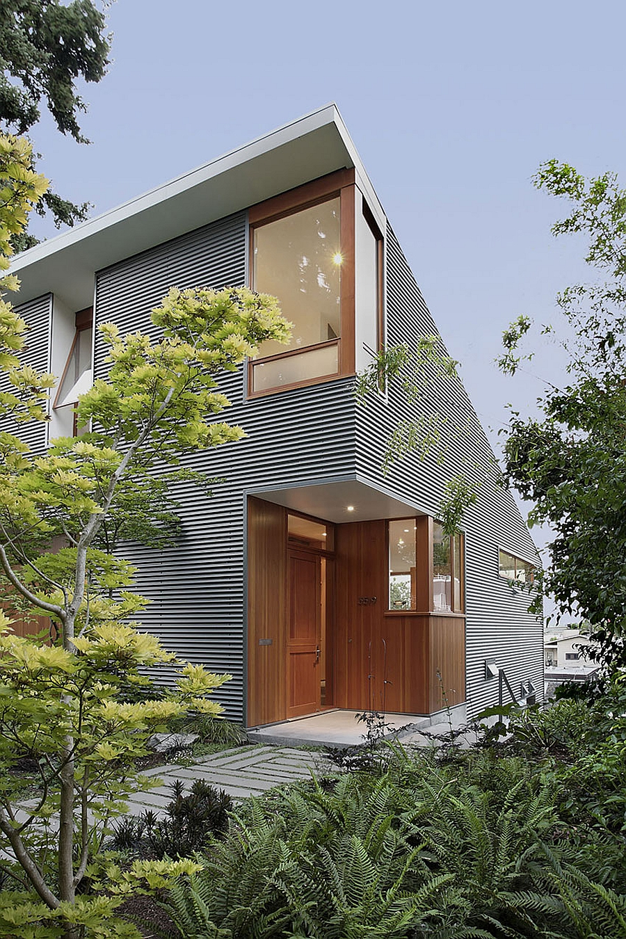 Entrance to the single family house in Seattle Eco Friendly Seattle House Blends Sustainability With Cheerful Elegance