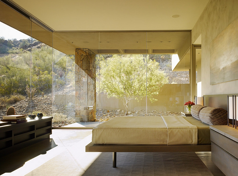 Exceptional minimal bedroom in Phoenix with glass walls