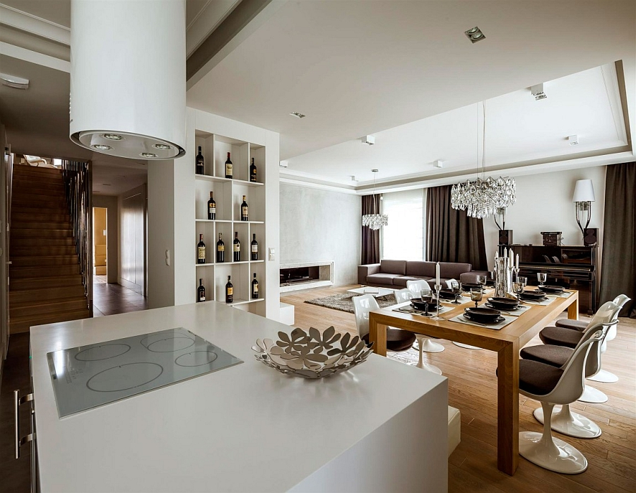 Exclusive design of the living of area of the Warsaw Apartment