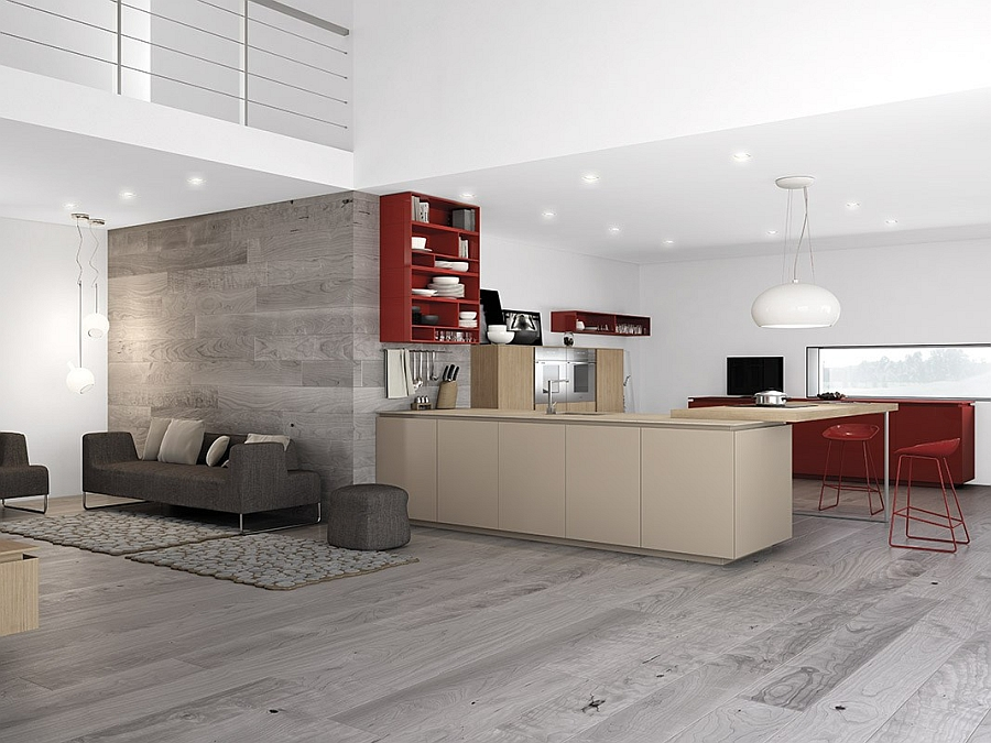 Dynamic minimalist kitchen sizzles with flaming red accents - Minimal kitchen design ...
