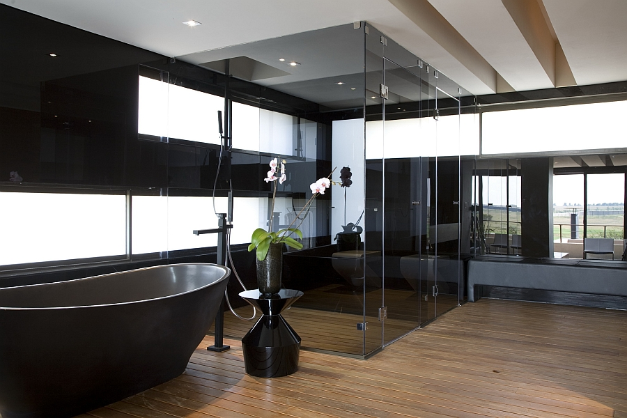 Expansive bathroom in black and white