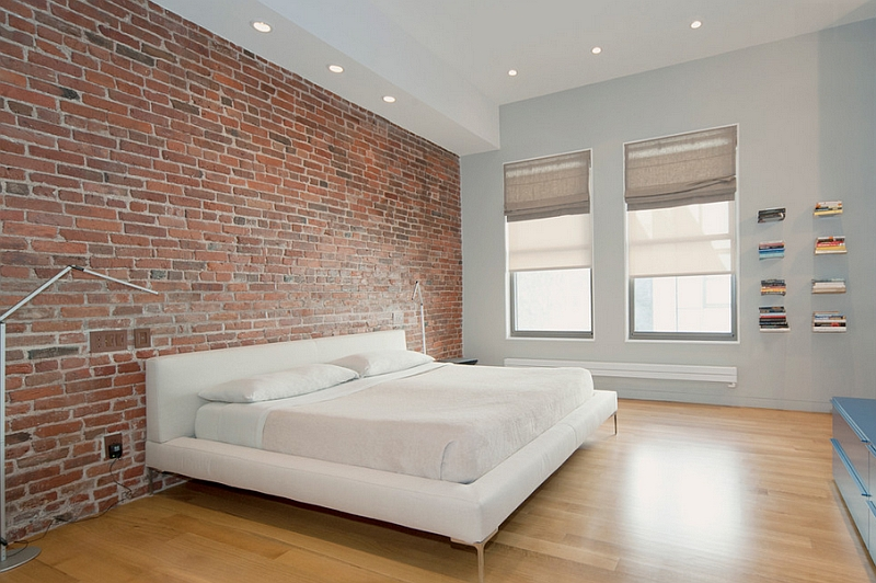 Exposed brick wall idea for a stylish minimal bedroom for Bedroom w brick wall