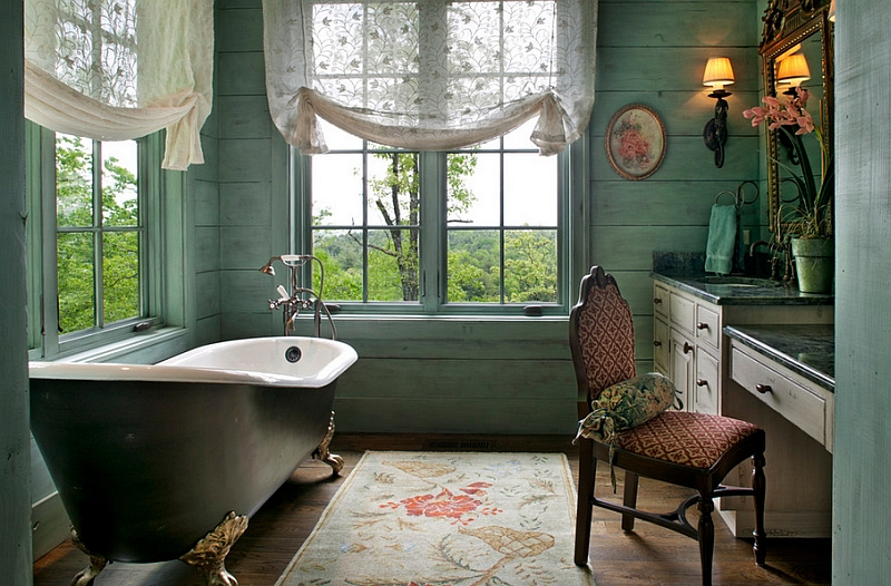 Exquisite bathroom with a standalone bathtub painted in a metallic finish