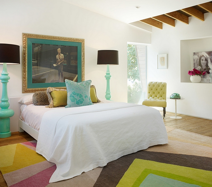 Exquisite bedroom with beautiful pops of color. Oversized Lighting  Floor And Table Lamps That Leave You Overwhelmed