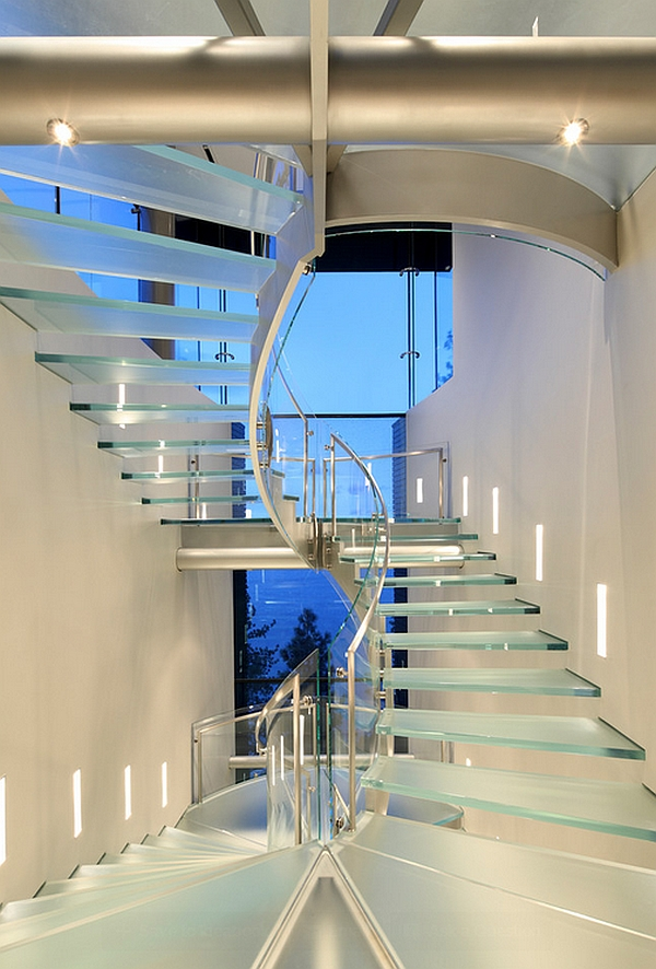Exquisite glass stairway at the Lake Tahoe House