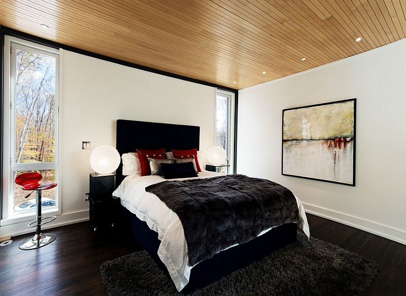 Exquisite use of black, white and red in the bedroom