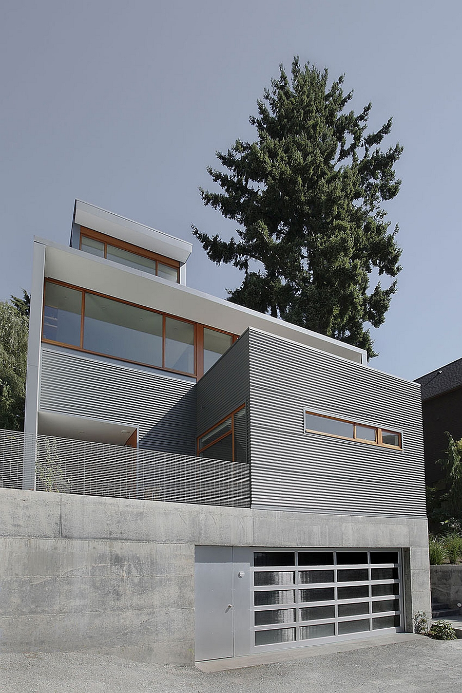 Exterior of the Seattle home in white and grey