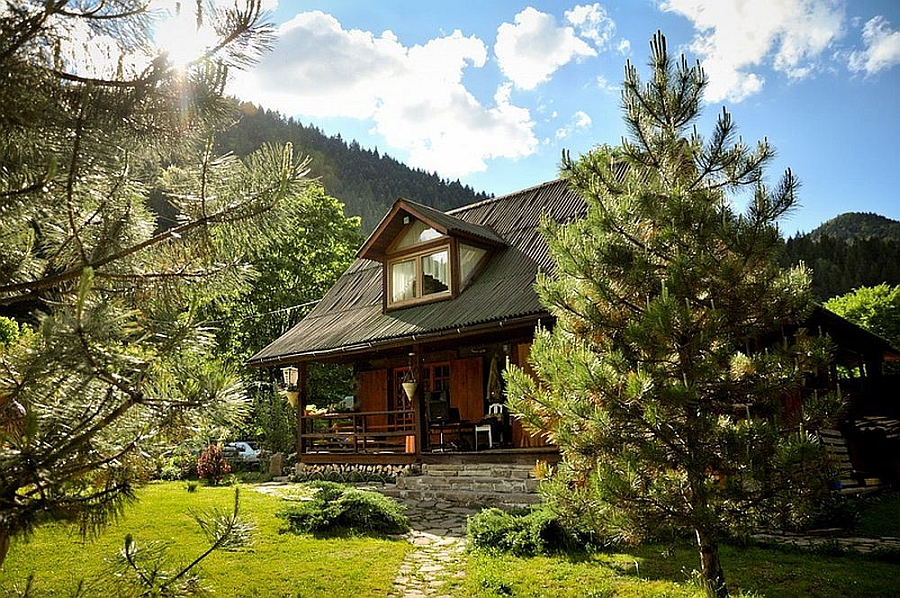 Exterior of the beautiful rusic Romanian house in mountains