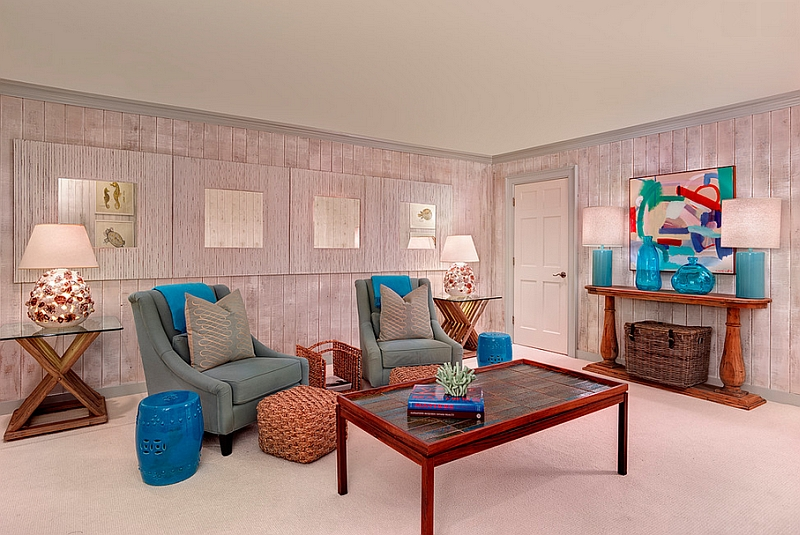 Fabulous blue accents enliven the cool family room
