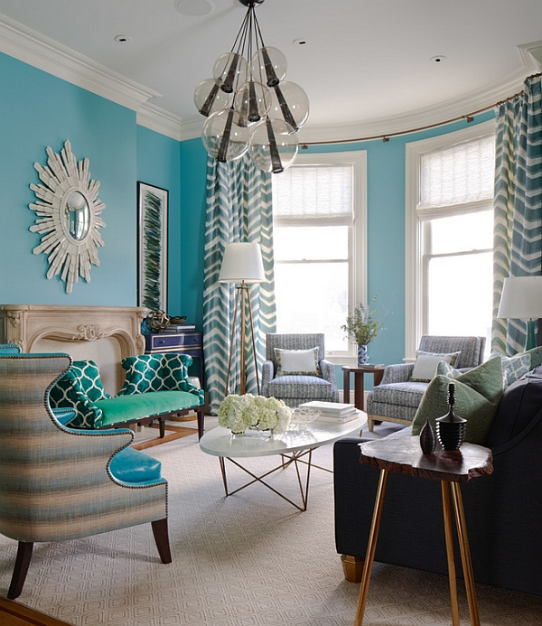 Fabulous blue theme for the living room