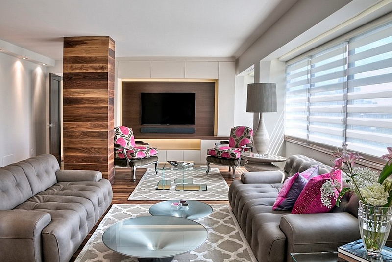 Fabulous living and dining room with pops of pink