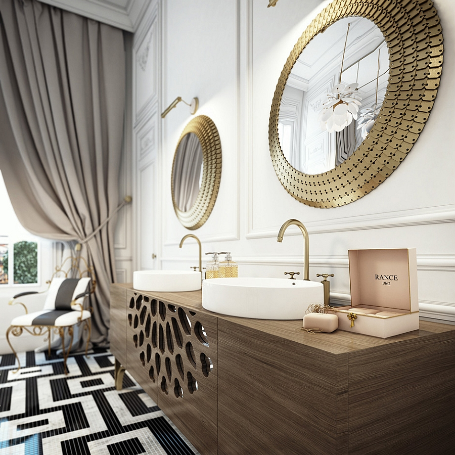 Floating vanity with twin sinks and mirrors with golden trims