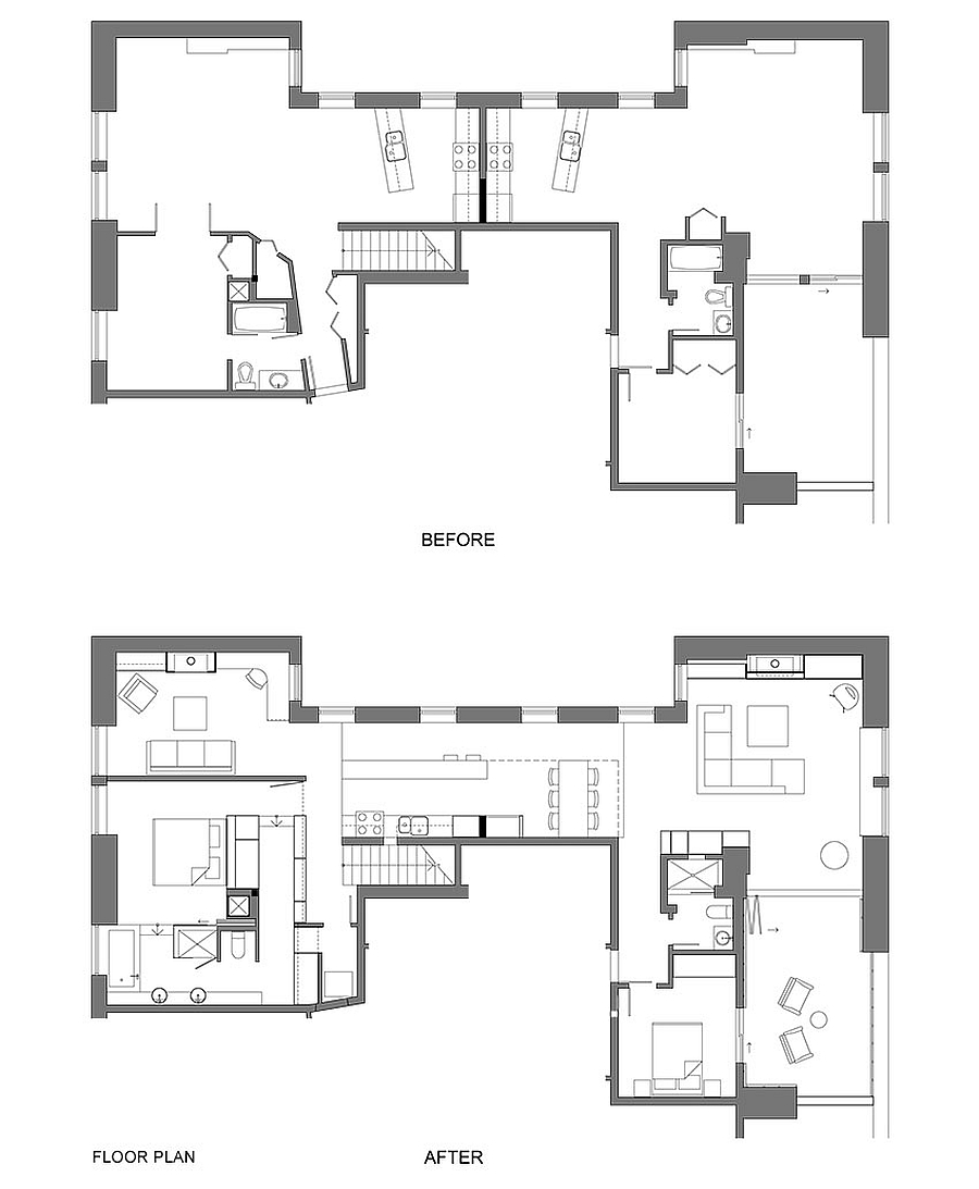 Floor plan of twin apartments joined into one
