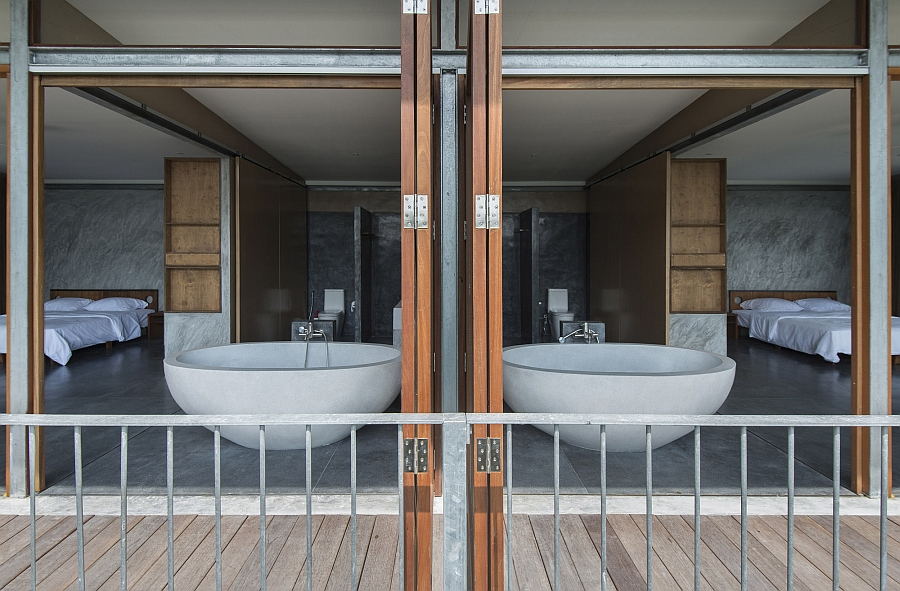 Folding glass doors of the master suite
