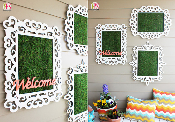 Framed moss outdoor artwork