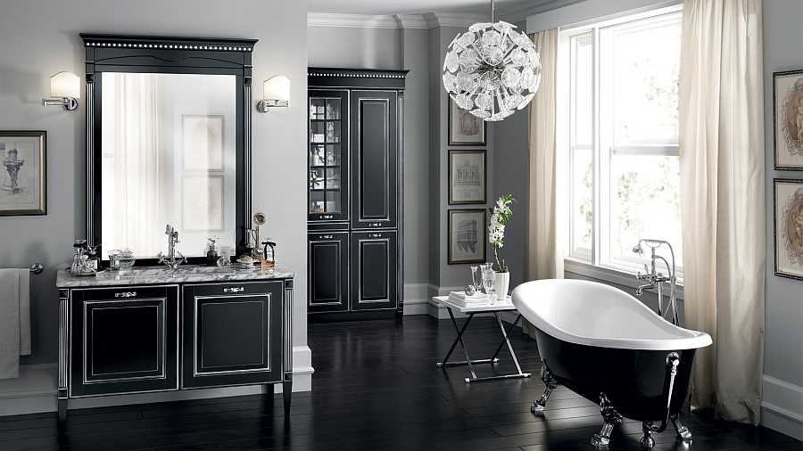 Freestanding tub in black and white steals the show here