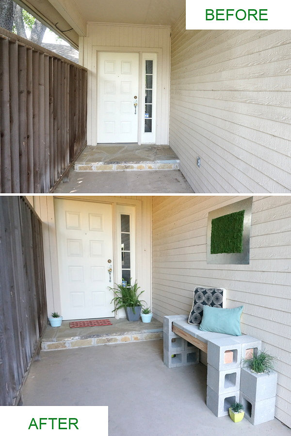 Front porch makeover before and after photos A Front Porch Makeover Featuring A Cinder Block Bench